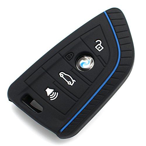 Schlüssel Hülle BE für 4 Tasten Auto Schlüssel Silikon Cover von Finest-Folia (.Schwarz Blau)