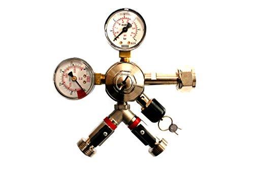 Druckminderer 2 leitig für Co2 Kohlensäure Bier zapfen 2 Anschlüsse Leitungen