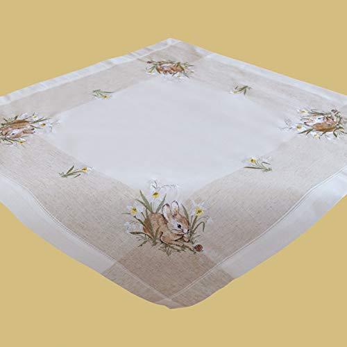 Mitteldecke - ecru/beige-bunt Stickerei ''Hasen'' Leinenoptik (85/85)