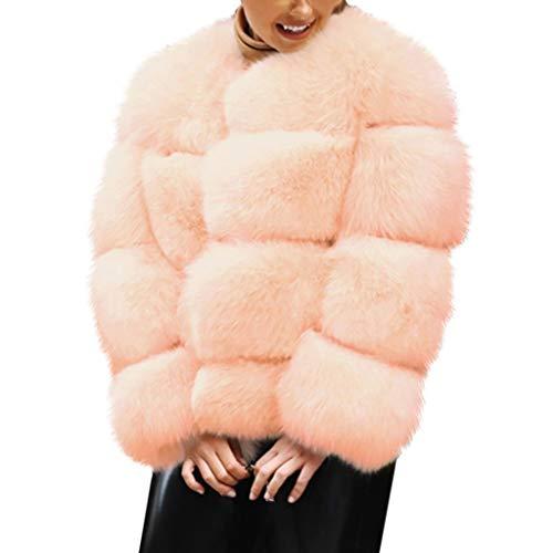 YUYOUG Veste en Fausse Fourrure Femme, Manteau Chaud Femme Hiver Manches Longues Grande Taille Chic pour Femmes (Pink, XL)