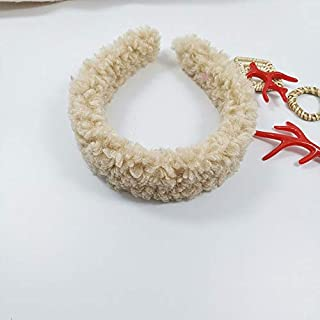 Hair band Girls Winter Faux Fur Hair Hoop Womens Hair Accessories Cashmere Hairbands Lambswool Furry Headbands MJZCUICAN (Color : Khaki, Size : Size fits all)