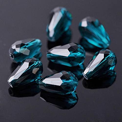 Cristal facetado en forma de lágrima de pera 5x3mm 7x5mm 12x8mm 15x10mm 18x12mm Cuentas sueltas para manualidades para hacer joyas DIY-Azul pavo real, China, 12x8mm 30 piezas