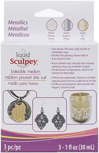 Polyform Sculpey Liquid Polymer Clay – Basics 3/Pkg Pearl Silver Gold, Multicolor