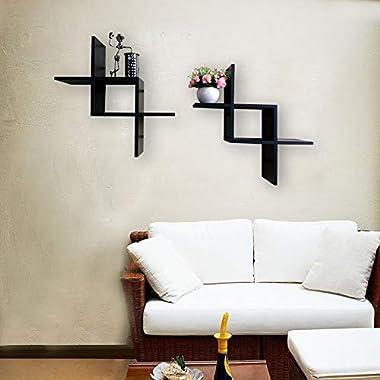 SHELVING SOLUTION Set of 2 Reversed Criss Cross Wall Shelf (Black)