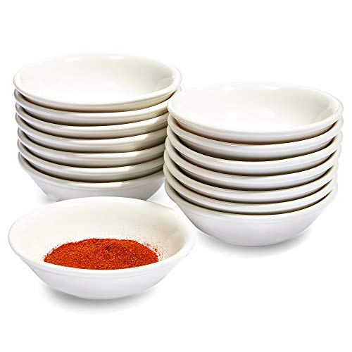 Small Ceramic Bowls for Dipping, Round Bowl (3 x 1 In, White, 15 Pack)