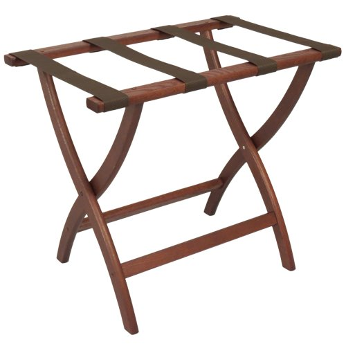 Wooden Mallet Designer Curve Leg Luggage Rack,Brown Straps, Mahogany