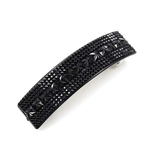 rougecaramel - Barrette cheveux rectangulaire en strass acrylique 8cm noir