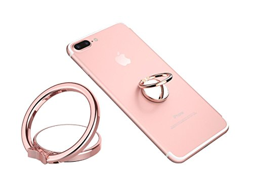 Phone Ring Finger Holder, Stand & Mirror - MAXIMEST 360 Grip & Kickstand Accessory for Cell Phone iPhone 6 7 8 Plus X, Samsung Galaxy S6 S7 S8 Note 8, Tablets: iPad, Tab. Universal Fit (Rose Gold)