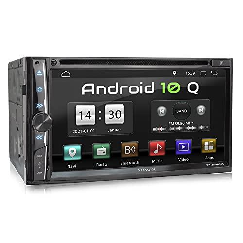 XOMAX XM-2DA6915 Radio de Coche con Android 10 I Quad Core, 2GB RAM, 32GB ROM I GPS I Soporte WiFi, 3G, 4G, Dab+, OBD2 I Bluetooth I 6,9' Pantalla Táctil I DVD, CD, USB, SD, RDS I 2 DIN