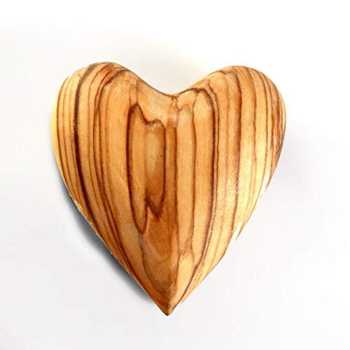 KASSIS Olivenholz Handschmeichler Herz Glücksbringer Antistress - hergestellt in Bethlehem (1, 5 cm)