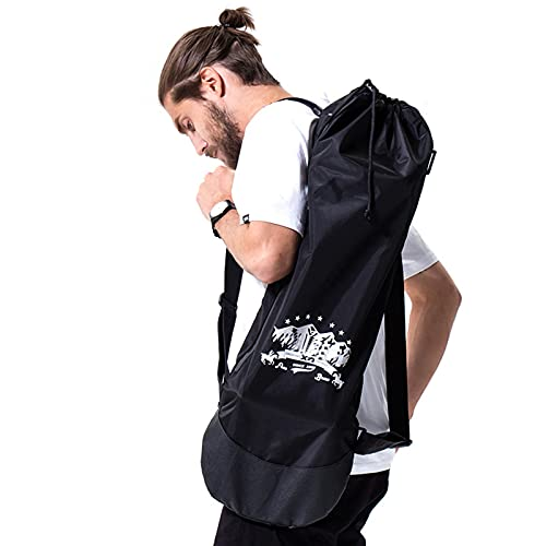 xxiaojun Skateboard Backpack Bag with Adjustable 2 Shoulder Straps,Foldable Water Proof Skateboard Carry Bags for Travel,Black Nylon Electric Skaeteboard Bag
