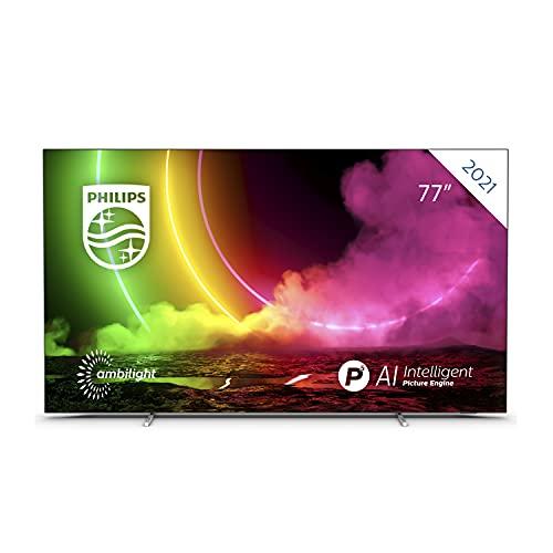 Philips 77OLED806 77 Zoll 4K Smart TV UHD OLED Android TV mit Ambilight, HDR-Bild, Dolby Vision und Atmos Sound, VRR ideal zum Spielen, kompatibel mit Google Assistant und Alexa, Hellsilberner Rahmen