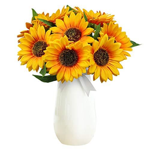 Olrla 10 künstliche Sonnenblumen Einzelstiel, realistische Seide künstliche Sonnenblume für Blumenarrangement Hochzeitsstrauß Tischdekoration Zuhause Garten Party-Dekoration