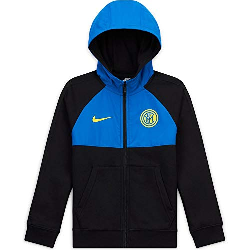 Nike Inter B NSW Hybrid FZ Felpa, Bambino, Black/Blue Spark/(Tour Yellow) (No Sponsor), S