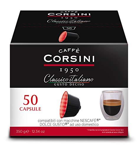 Caffè Corsini - Classico Italiano Miscela di Caffè in Capsule Compatibili Nescafè* DolceGusto*, Gusto Forte e Deciso - Confezione da 50 capsule