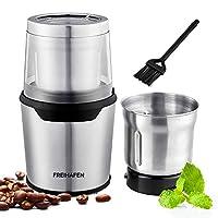 macinacaffè elettrico, 200w, con 2 contenitori in acciaio inossidabile, coltello da mosca per chicchi di caffè da 80 g, spezie, noci, erbe