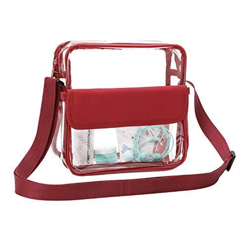 Borsa a tracolla trasparente con tracolla regolabile, per stadio di concerti, trasparente, per donne e uomini, impermeabile e rosso