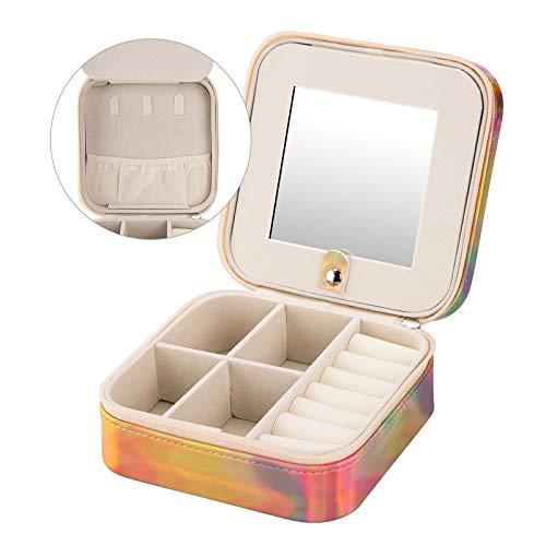Wisolt Joyero de viaje para mujer, de piel sintética, caja de joyería pequeña con espejo para anillos, pendientes, collares, pulseras
