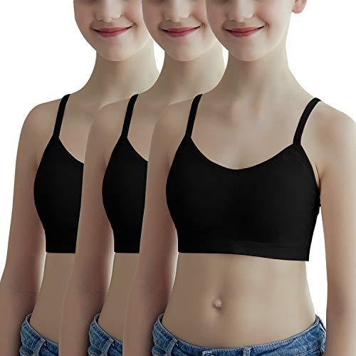 Libella 3er Pack Mädchen Bustier Mikrofaser BHS Sport Bra Trägertop Kinder BH Unterwäsche 3911 Schwarz S/M