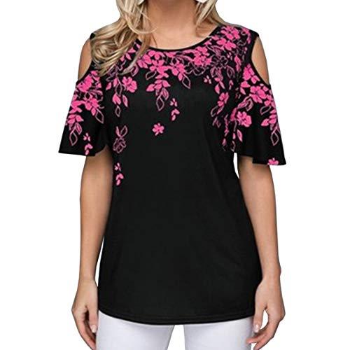 Tops de túnica con Estampado Floral de Hombros Descubiertos para Mujer Blusa Suelta Camisetas Estampado Floral Hombro frío Informal Correa de Hombro de Encaje Blusa de Manga Corta Top Casual Tops