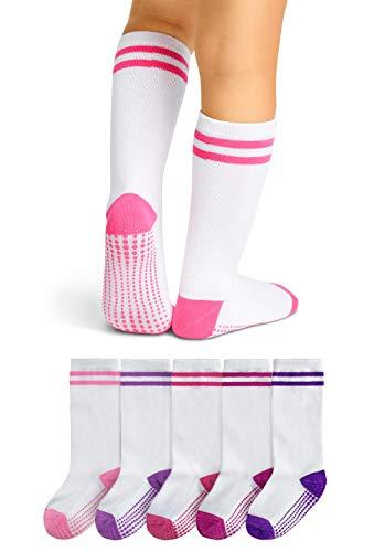LA Active Calcetines Altos Rodilla Antideslizantes - 5 Pares - para Bebé Niños Niñas Infantil - Algodón (Niñas Rayas Atléticas Variedad Blanco, 12-36 Meses)