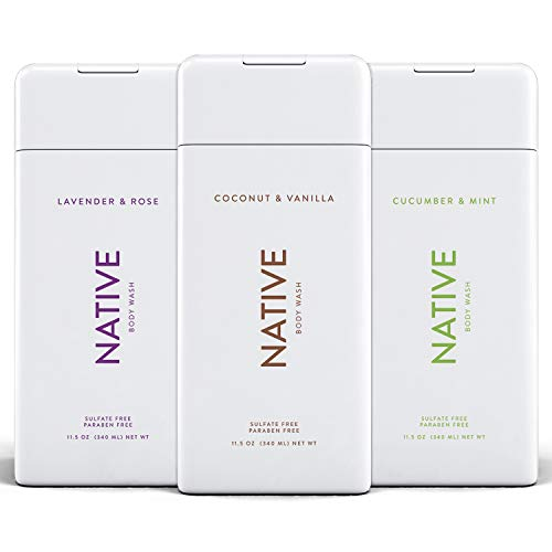 Native Body Wash 3 Pack - Natural Body Wash Women & Men - SLS & Paraben Free - Cucumber & Mint,...