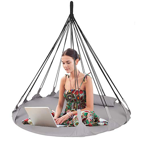 BHORMS Hanging Swing Nest, Daybed Saucer Style Lounger Swing Chair Nest with Pillow, Double Hammock for Indoor/Outdoor, 264 Pound Capacity
