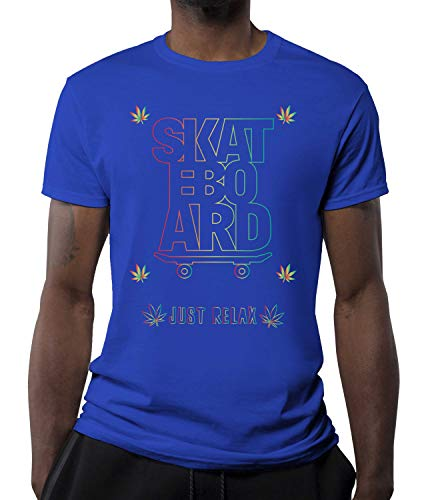 Okdok Herren T-Shirt Just Relax Skateboard Lovers Design Bekleidung Gr. XXL, blau