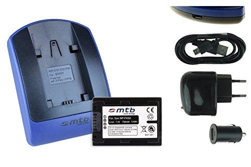 Batteria + Caricabatteria (USB/Auto/Corrente) per Sony NP-FH50/FP-50 / DSC-HX1, HX100V, HX200V / Alpha 330. / HDR-TG1. v. lista!