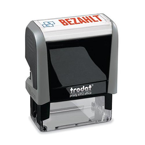 Trodat Office Printy 4912 Selbstfärbender Textstempel, Text Bezahlt, Abdruckfarbe blau-rot, 47 x 18 mm