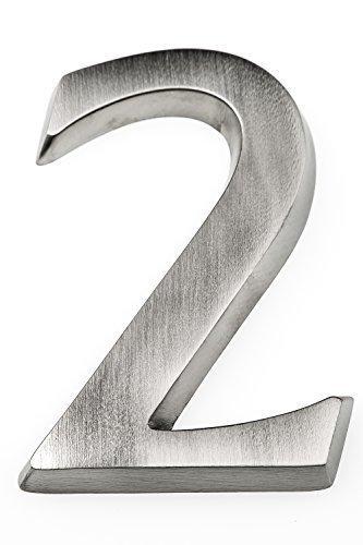 HUBER número de casa de aluminio 2 10 cm I números de casa para puerta - placas de número de casa en aluminio noble diseño 3D, anodizado