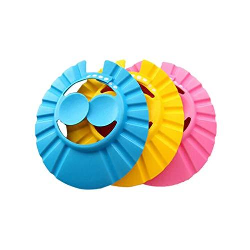 Minkissy 3 Stück Babypartykappe Silikon Badehut Verstellbare Baby Shampoo Schutz Badekappe Sicherheitsvisierkappe für Kleinkind Baby Kinder Kinder