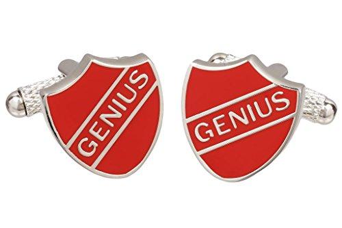 Rot Genius Crest Shield Manschettenknöpfe in Schwarz und Silber Farbige Manschettenknöpfe Box