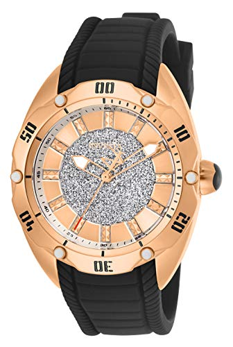 Invicta Women's Venom Stainless Steel Quartz Watch with Silicone Strap, Black, 21 (Model: 26146)