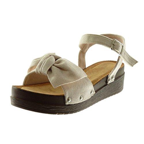 Angkorly - Damen Schuhe Sandalen Mule - Plateauschuhe - knöchelriemen - Knoten - Nieten - besetzt - Wooden Keilabsatz high Heel 4.5 cm - Beige S22 T 38