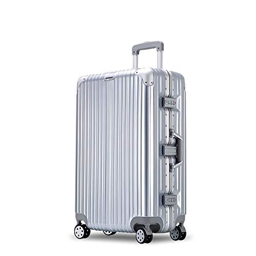 YCYHMYF Valigetta per valigie in Alluminio con Trolley Universale Valigetta per valigie in Argento Femmina (Argento 29 Pollici)