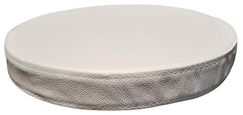 Quattro Meble Rond wit echt leer zitkussen lederen kussen zitkussen voor barstoel barkruk stoel bank dubbel genaaid echt leer kussen zitkussen Ø 32cm Weiß - Hermes Pure White