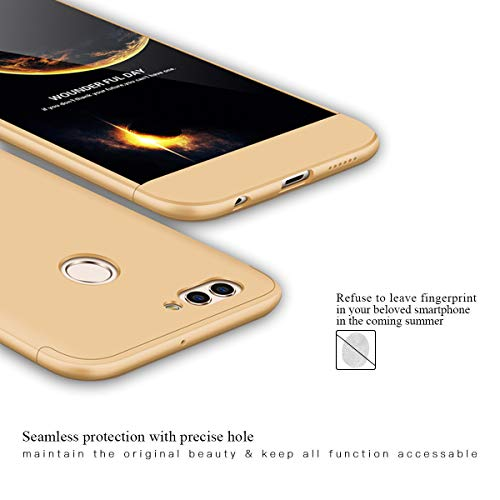 FMPC Hülle Kompatibel mit Huawei Nova 2 Plus, 3 in 1 PC Schale Full-Cover Anti-Kratzer 360° Ultra dünn Rundumschutz-Schale mit Gratis 3D Panzerglas Handyhülle Schutzhülle Case-Gold - 2