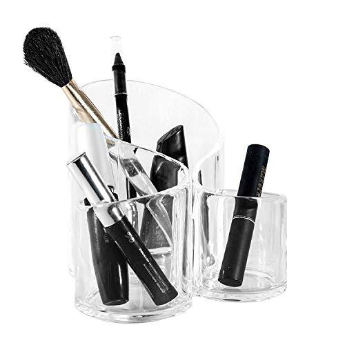 aoory Kosmetik Organizer Aus Acryl Make Up Aufbewahrung Kunststoff Becher Für Schminke Makeup 3 Fächer