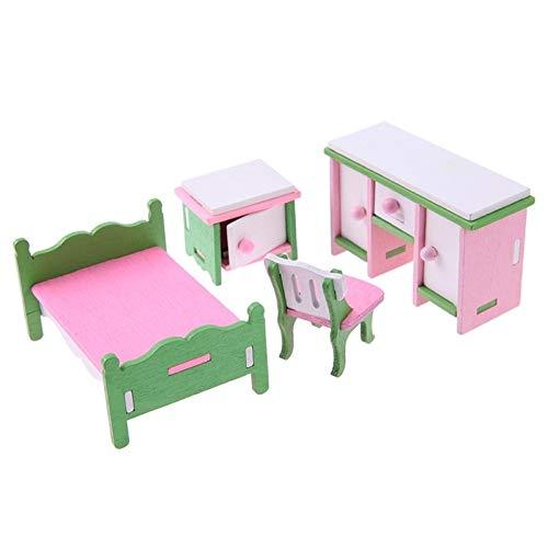 Juguetes Miniatura de Madera Muebles de la simulación de los niños Juguetes Doll House Set,MonsterAmy (Color : 560)