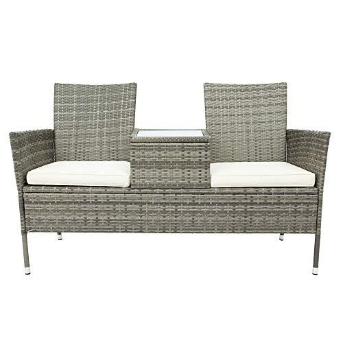 Rattan Gartenbank Gartenmöbel Sitzbank mit Tisch, Polyrattan Gartensofa Balkonmöbel Lounge Bank 2 Sitzer, Balkon Bank Sitzgrupp 142 cm