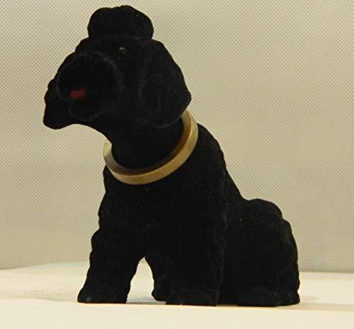 RAKSO Wackel Figur Hund Pudel Wackelfigur H 13 cm schwarz klein Dekofigur mit Wackelkopf