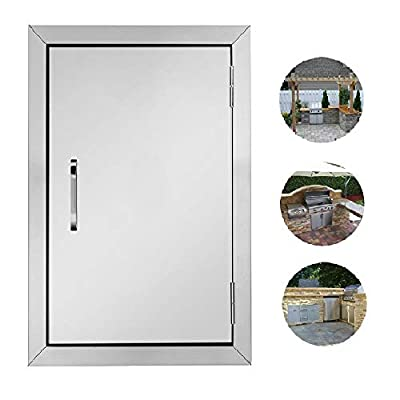 ROVSUN Outdoor Kitchen Door, 304 Grade Heavy Duty BBQ Access Door, 17''W x 24''H Flush Mount Stainless Steel Single BBQ Island Door, Perfect for Outdoor Kitchen, BBQ Island & Grilling Station