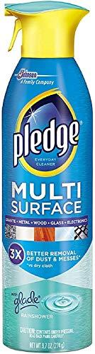 Pledge Multi Surface Everyday Cleaner Aerosol Spray, Rainshower 9.70 oz (Pack of 12)