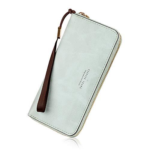 Wallets for Women, Long Leather Checkbook Card Holder Purse Zipper Buckle Elegant Clutch Ladies Wallet Coin Purse (Blue)