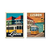 Chenjiaxu Cuadro De Ilustración De Lisboa Pintura En Lienzo Impresión Imagen De Arte Nórdico Para La Decoración Del Hogar De La Sala De Estar-40X60Cm X2 Sin Marco