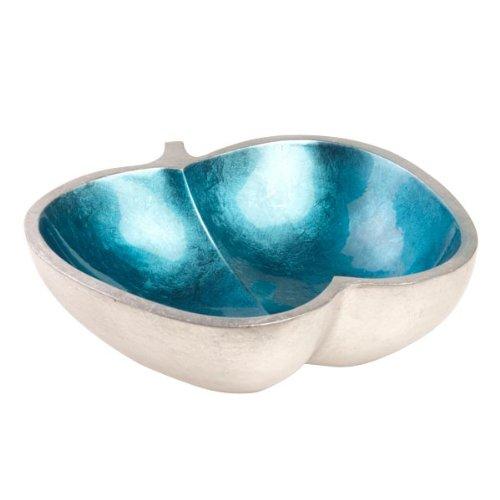 Bol en bois de manguier laqué pomme/bleu clair/argent)