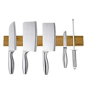 包丁 マグネット 木製 BelleJoomu 磁石 包丁立て 包丁スタンド マグネット ナイフラック 磁気包丁立て 強粘着テープ 壁掛け式 キッチンツール 簡単装着 40CM