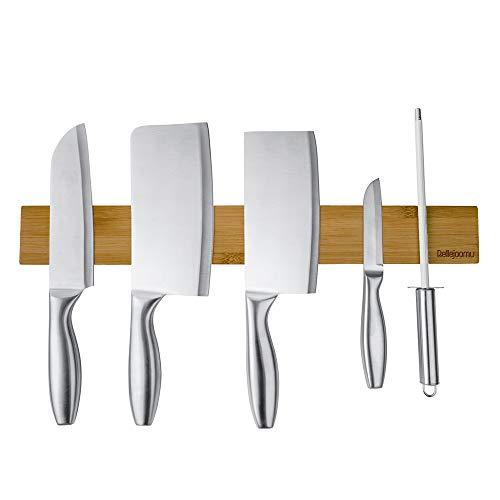 BelleJoomu Magnet Messerleiste Bambus, Magnetleiste Messer Holz Messerhalter Für Die Lagerung Aller Arten Von Gegenständen Aus Metall Für Leichte Montage (40CM)