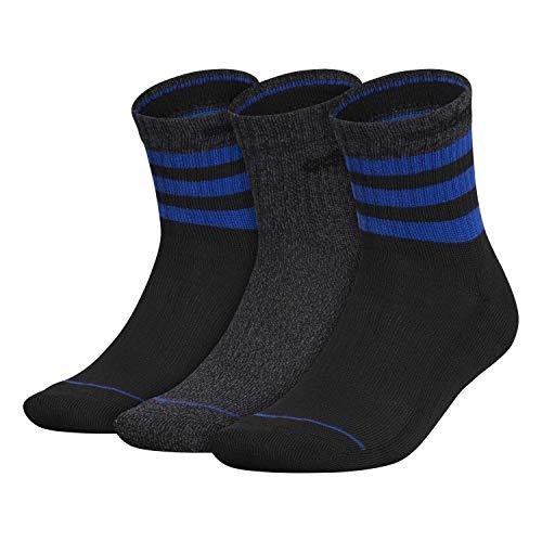 adidas Calcetines de 3 rayas para hombre (3 pares), Hombre, Calcetines, 5150375A, Negro / Negro - Onix Marl/ Team Royal Blue/ Onix, large